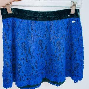 Lace royal blue mini skirt!